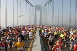 Le départ sur le pont de Verrazzano © tcsnycmarathon.org