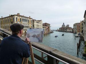 peintre sur le pont de l'Académie © B. Thomasson